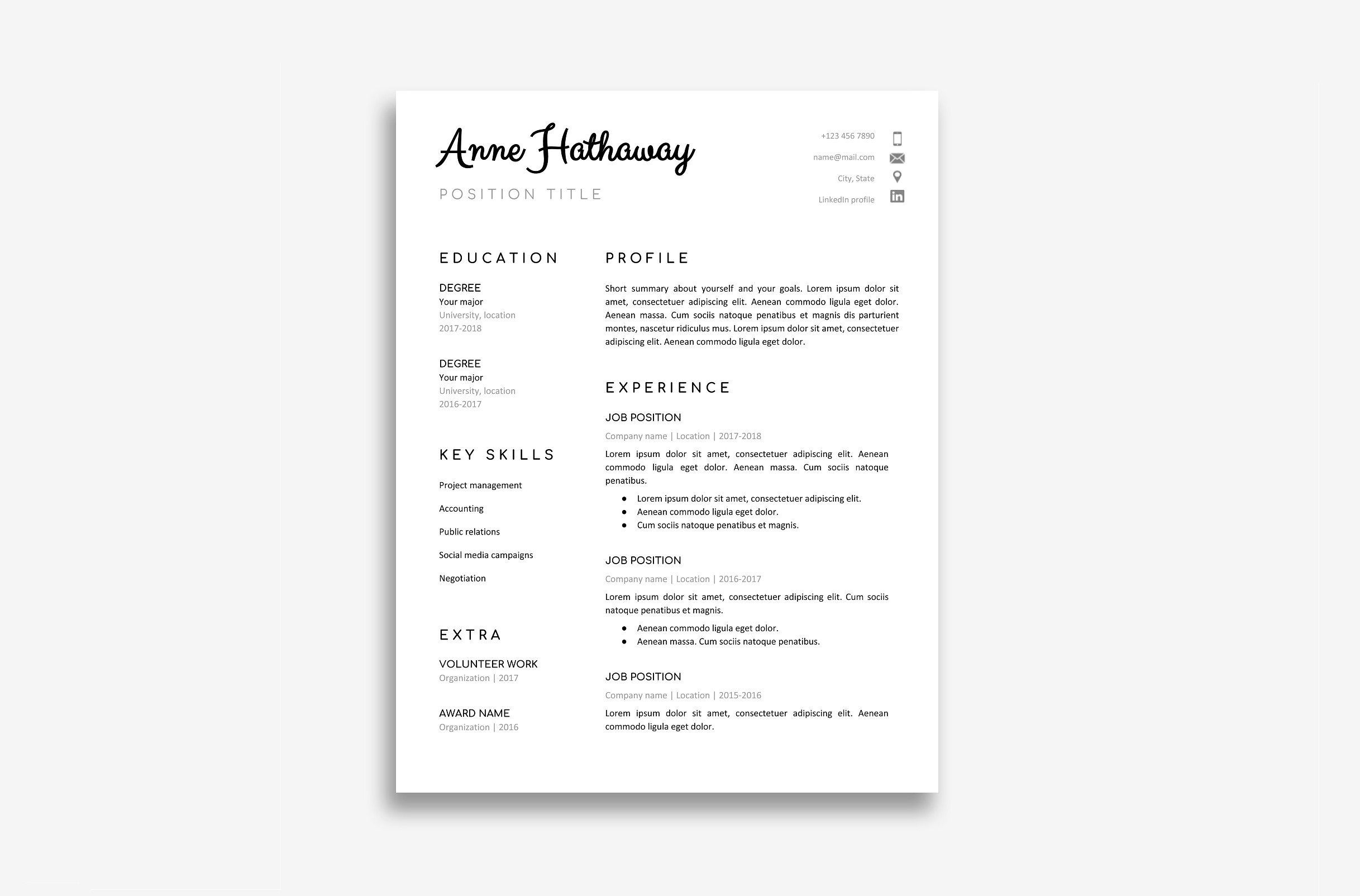 Google Doc Resume Template MSeditableWordrequired
