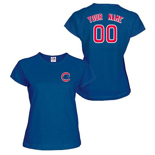sneakers for cheap cc651 5fe21 Chicago Cubs Women's Authentic Personalized Jersey T-Shirt ...