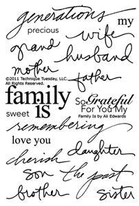 Ali Edwards + Technique Tuesday produce a stamp set describing Family