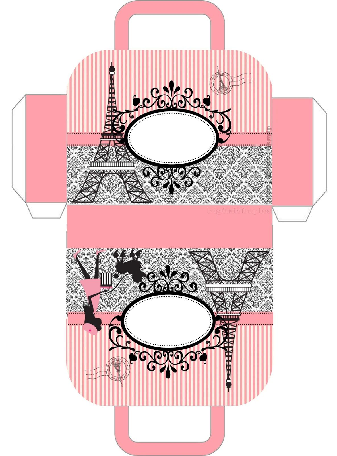 Beautiful Paris Free Printable Suitcase Favor Box