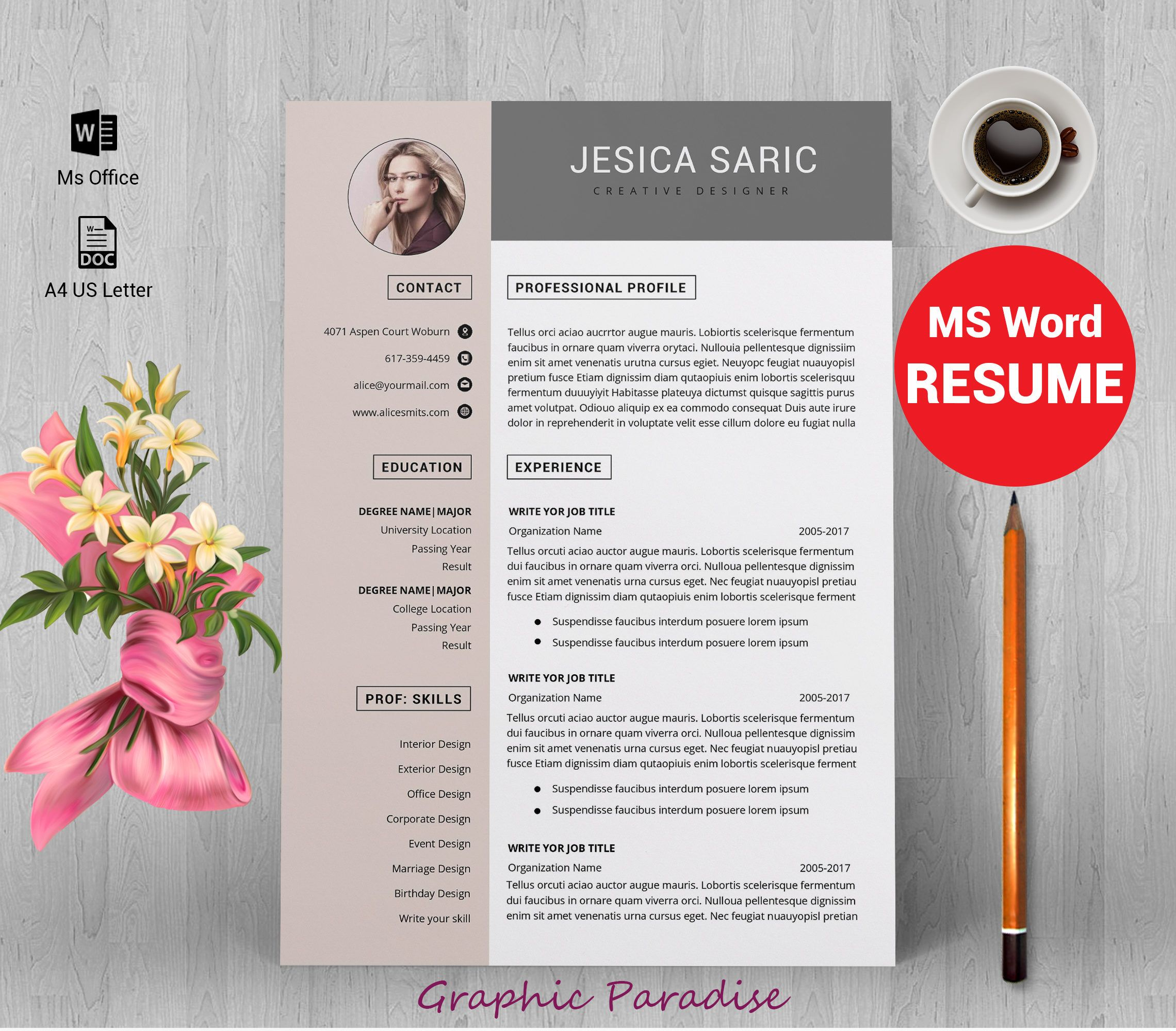 Professional resume template instant download, 3 page resume ...