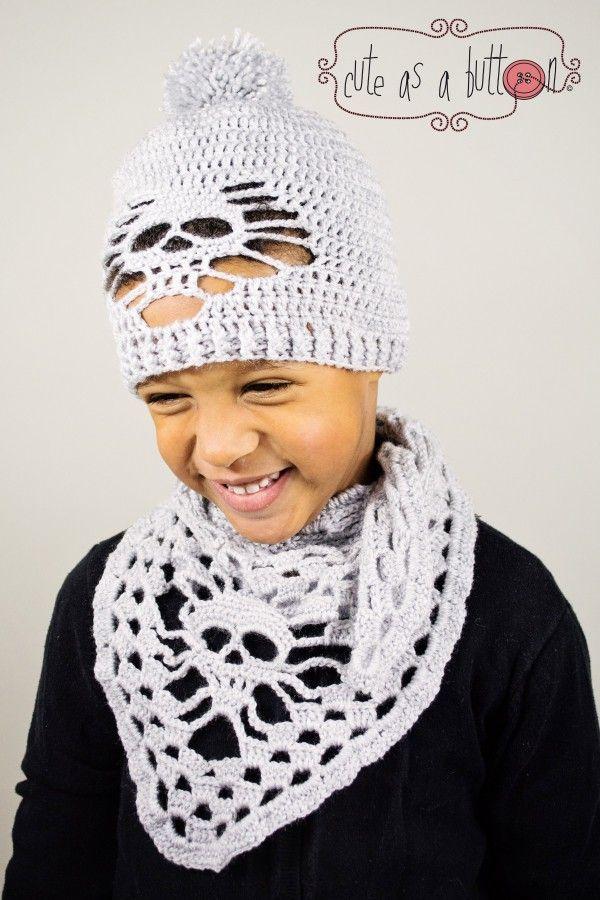 Totenkopf-Mütze + Totenkopf-Schal in allen Größen jetzt häkeln ...