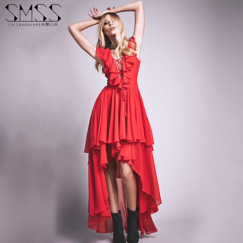Women Summer Dress Chiffon Deep V-neck Ruffles Maxi Long Dresses Swallow-tailed Dress Sexy Beach Holiday Chiffon Dress Plus Size