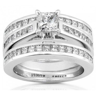 Trio Wedding Band Set Engagement Rings And 2 3