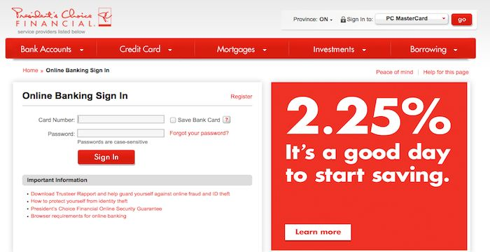 Pc Financial Login Online Banking Financial Bank Card