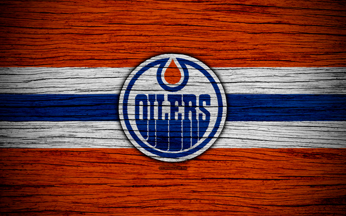 Download wallpapers Edmonton Oilers, 4k, NHL, hockey club, Western Conference, USA, logo, wooden texture, hockey, Pacific Division