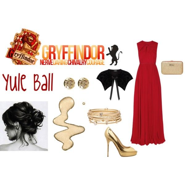 Gryffindor - Yule Ball by lumos394 on Polyvore featuring Giambattista Valli, Dorothy Perkins, Jimmy Choo, Boutique, Witchery, Karen Millen, Topshop, harry potter, gryffindor and yule ball