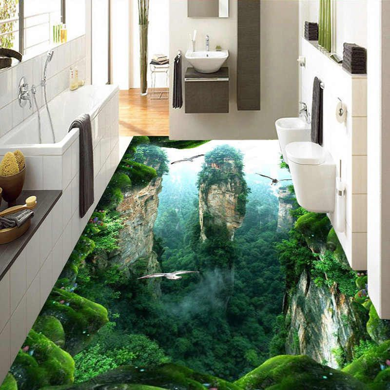 Mural Personalizado 3d De Papel Pintado De Suelo Paisaje De Ropero Pvc Resistente Al Agua Para El Bano Piso 3d Pegatinas De Pared Vinilo Papel De Pared D In 2020 Floor