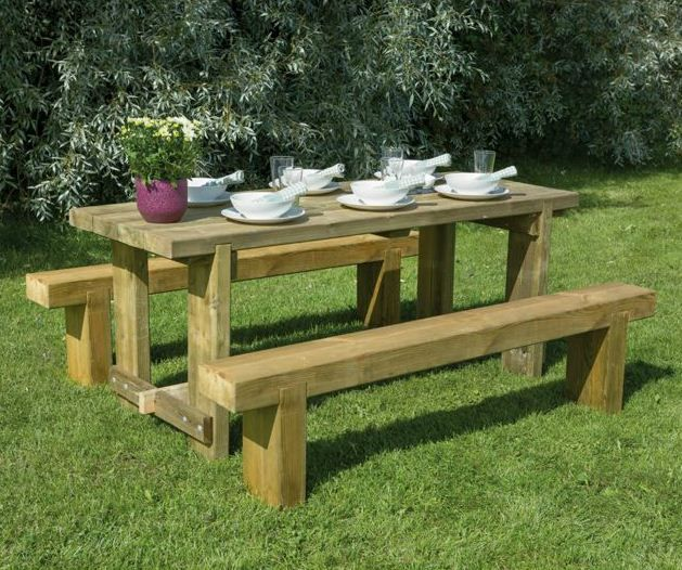 Forest Garden Refectory 1 8m Wooden 6 Seater Picnic Table Sleeper Bench Set Wooden Garden Table Garden Furniture Sets Garden Table