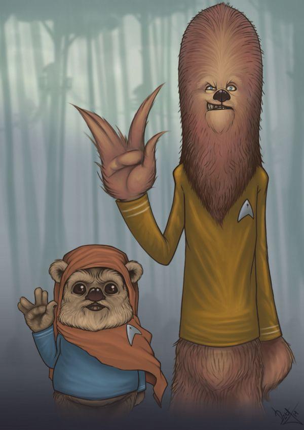 Chewbacca And Ewok Wearing Star Trek Uniforms The Geek