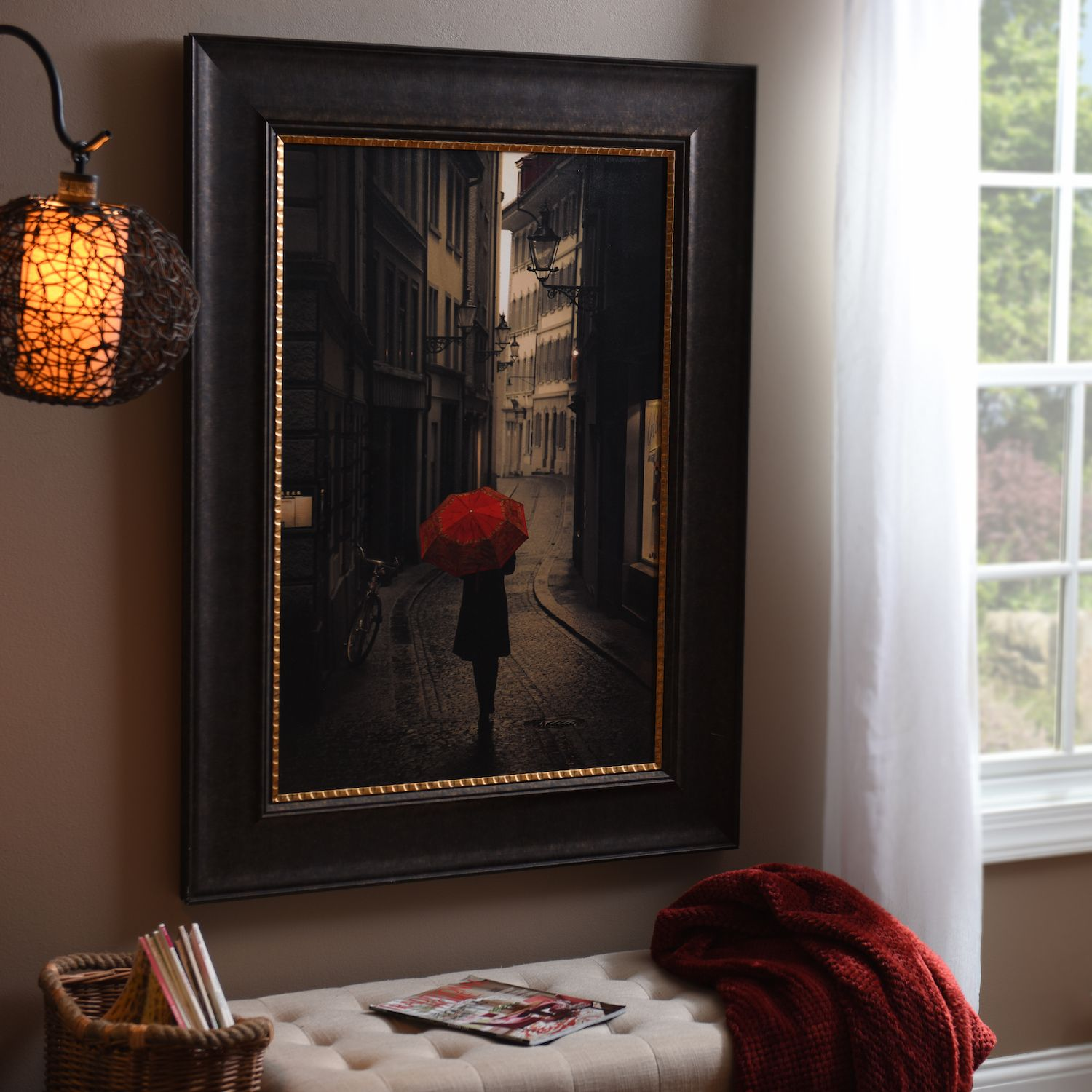 Give this bold print from stefano corso a sepia print featuring only the color from a red umbrella red rain framed art print makes a great gift for any