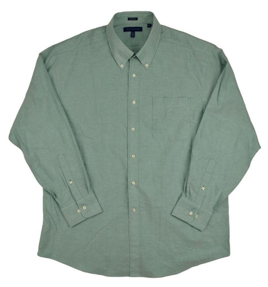 Tommy Hilfiger Mens Button Down Dress Shirt Solid Green Size XL 17.5 x 34-35 NEW #TommyHilfiger #DressShirt