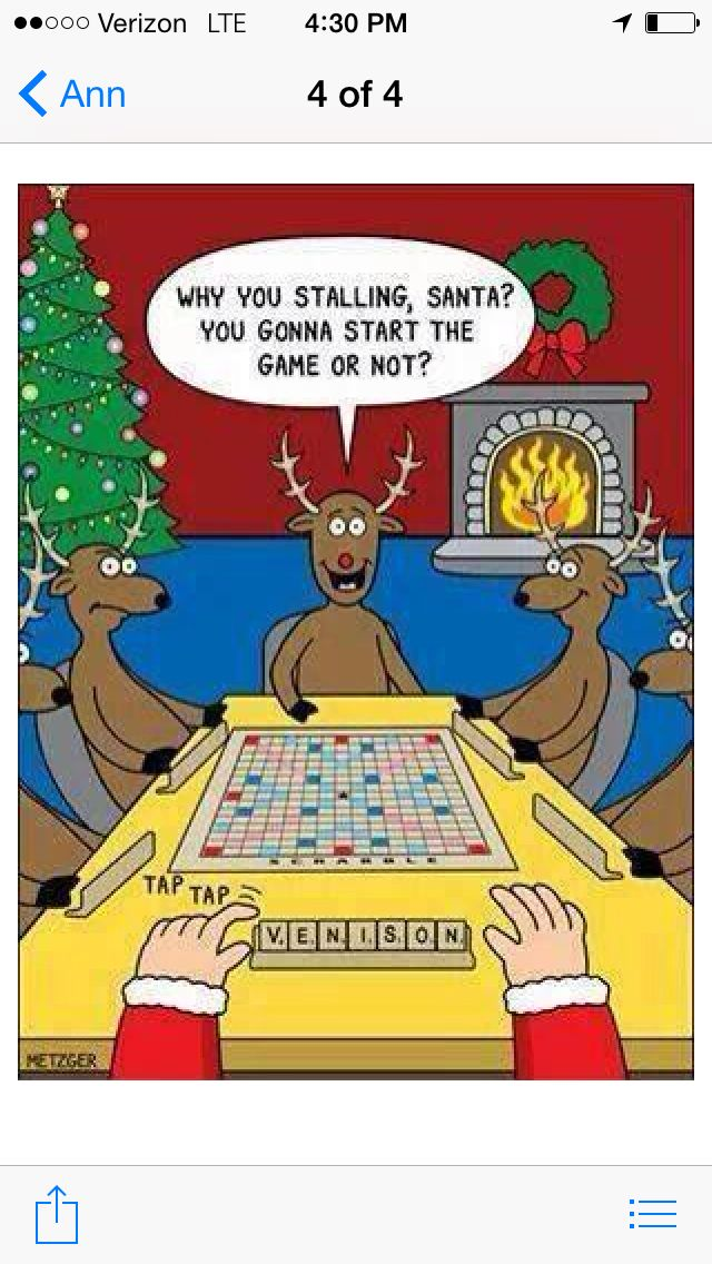 Santa plays Scrabble with Reindeer Ann Lindstrand 2014