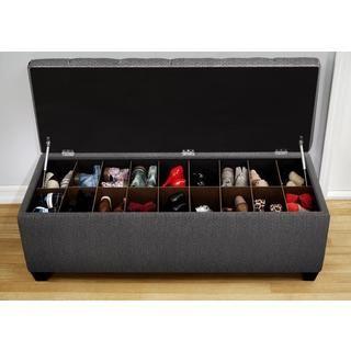 The Sole Secret Shoe Storage Bench   Candice Charcoal (Small), Black (Foam)