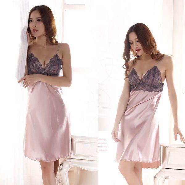 도매 새로운 스타일의 여성 가짜 실크 교정기 드레스 여자 레이스 잠옷 잠옷 JX0169