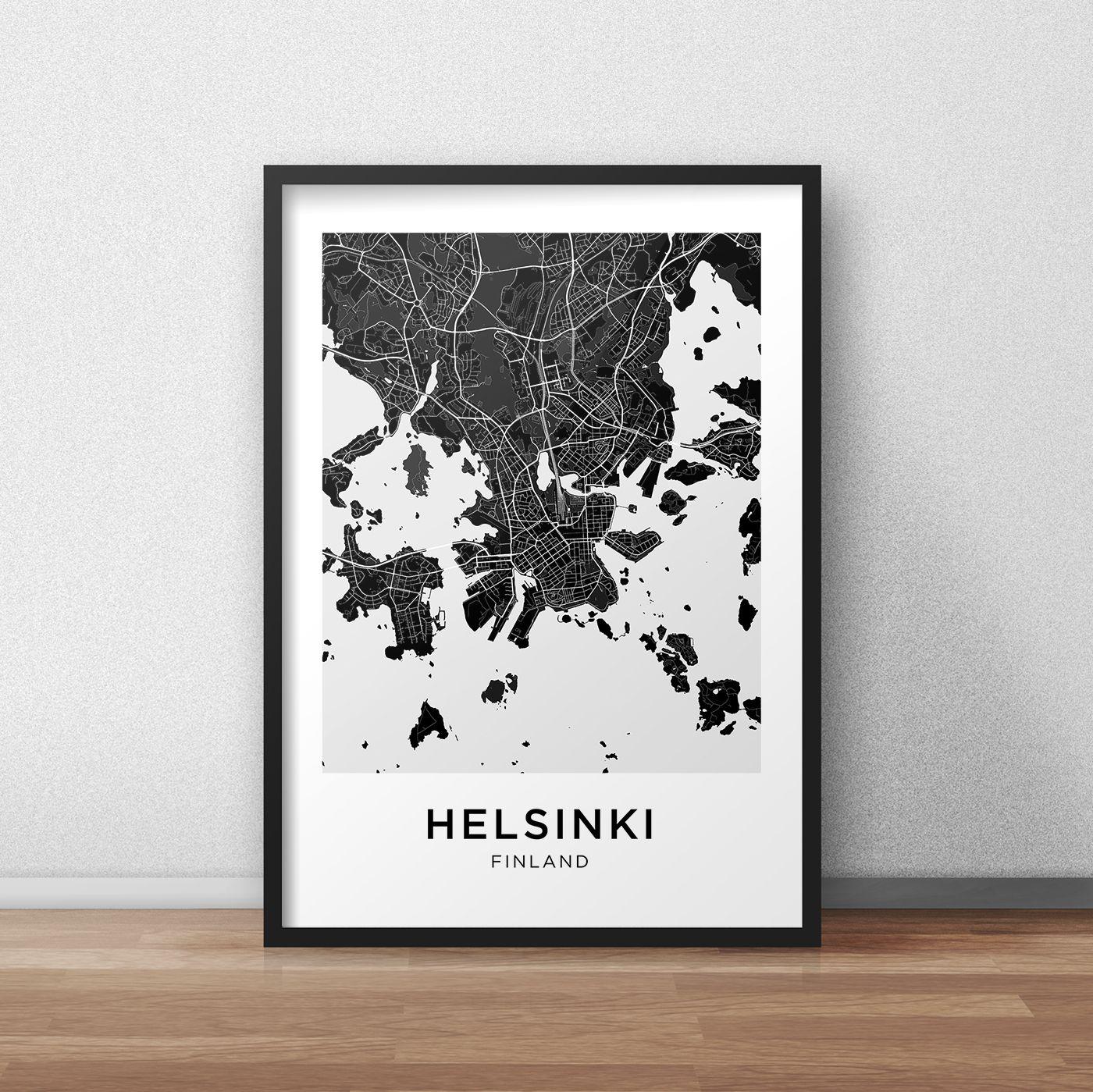 Helsinki Map Print Helsinki Map Download City Map Helsinki Etsy Map Print Printable Artwork City Map