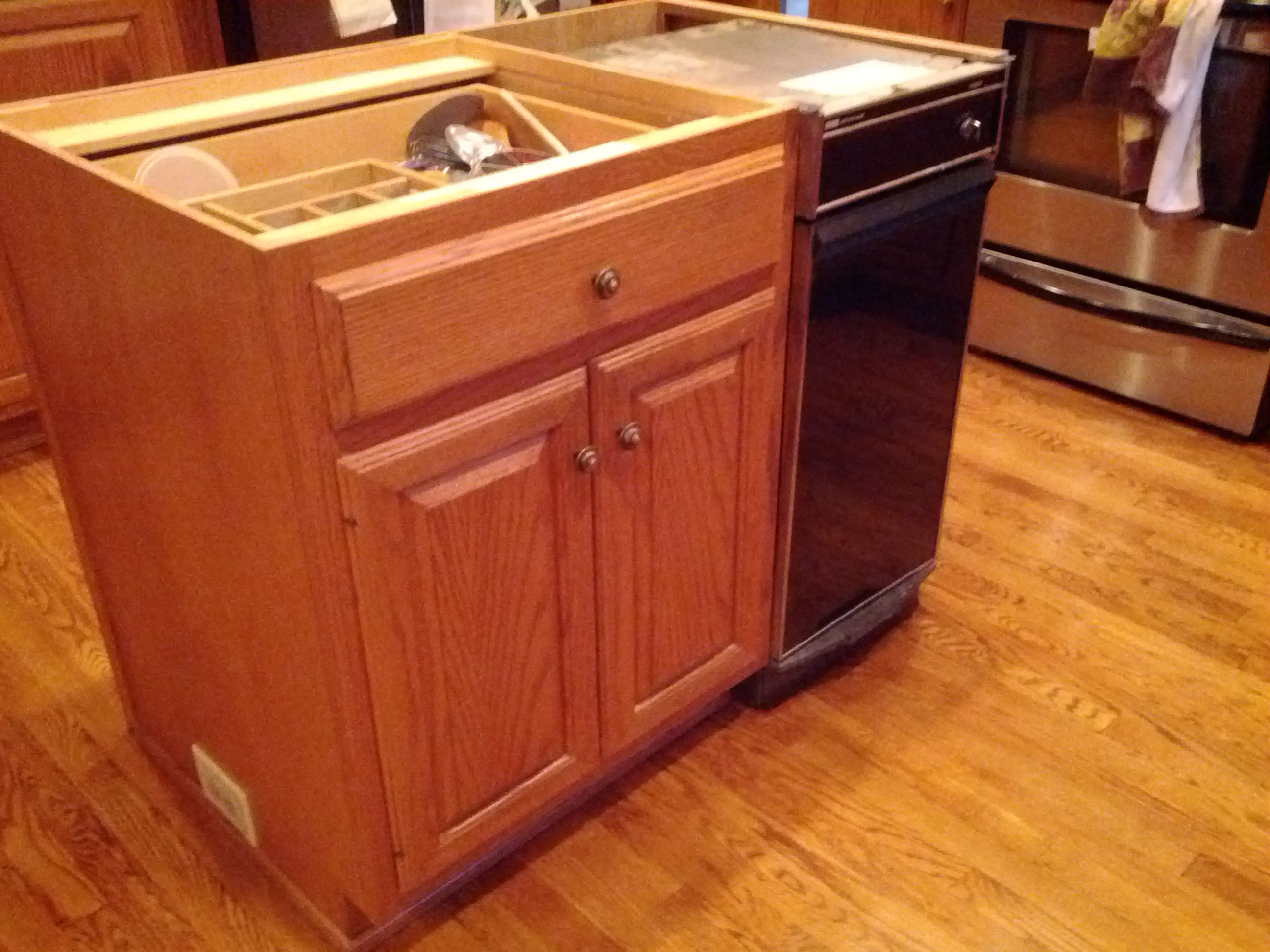 kitchen trash compactor oakley backpack sink original in island removed and