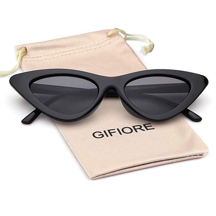 11ec408c574a Gifiore Retro Vintage Cat Eye Sunglasses for Women Clout Goggles Plastic Frame  Glasses (Black Frame