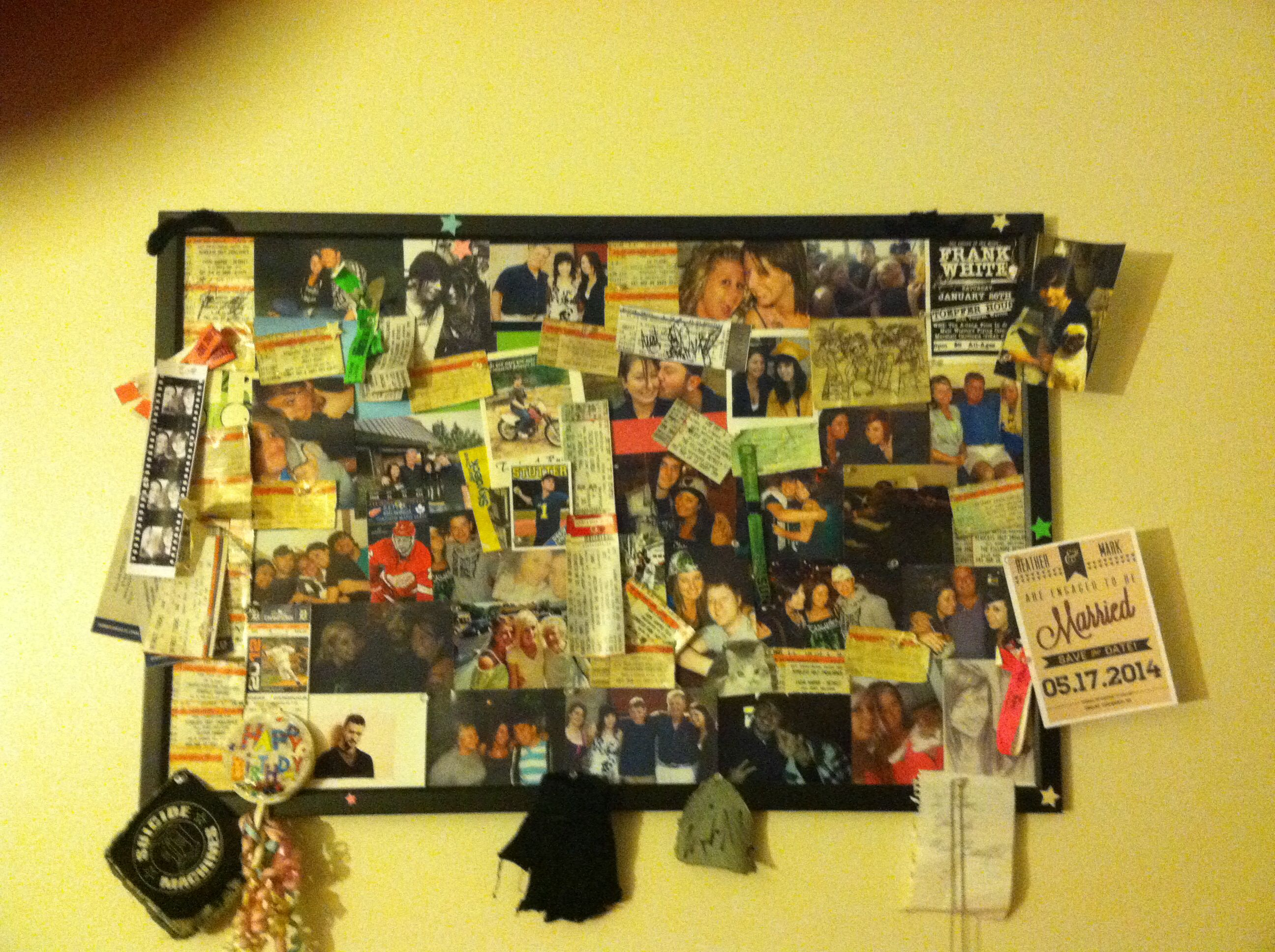 A collage of my favorite memories on a cork board