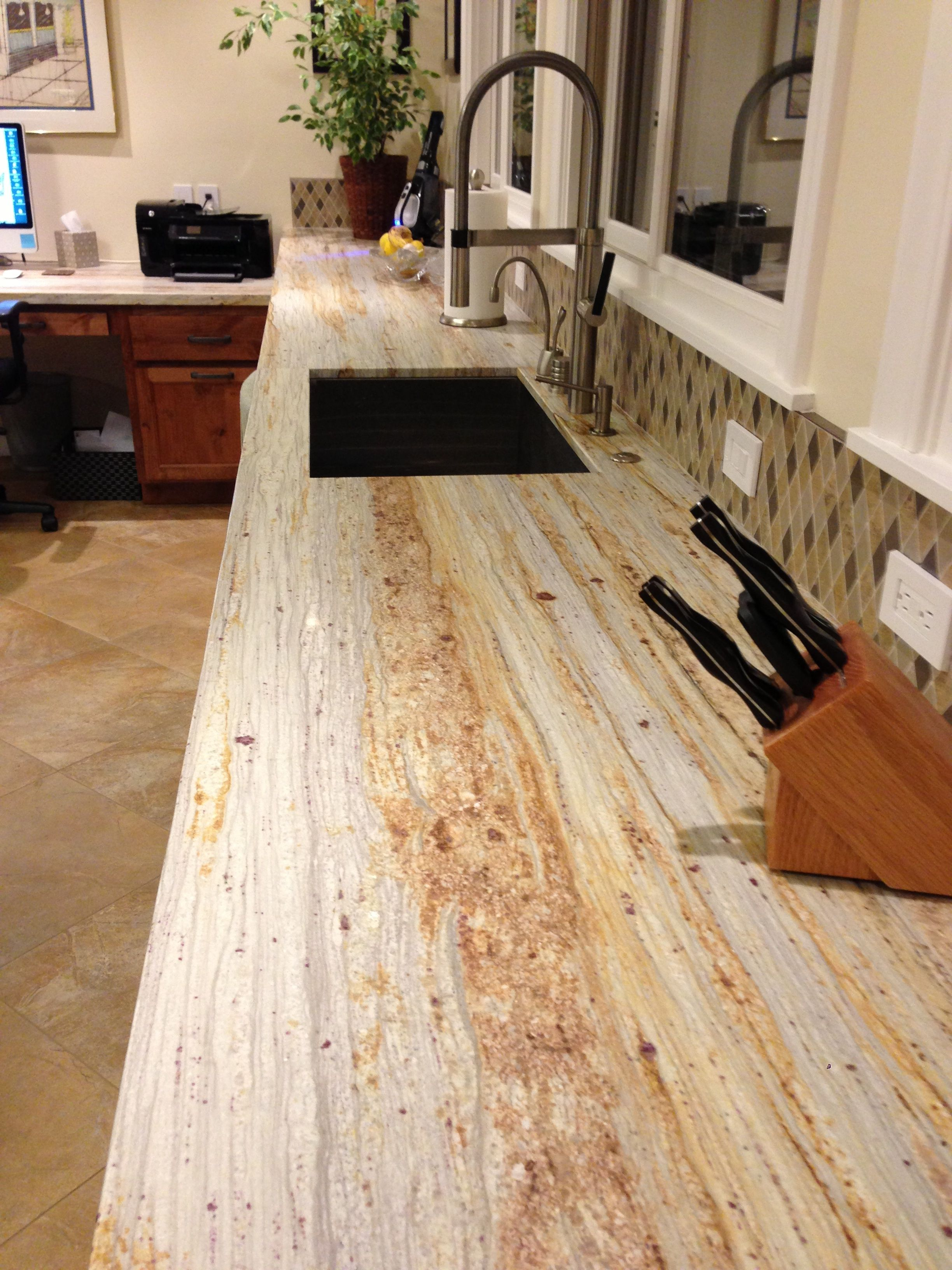 Exotic River Gold Granite Counter With Hone Matte Finish