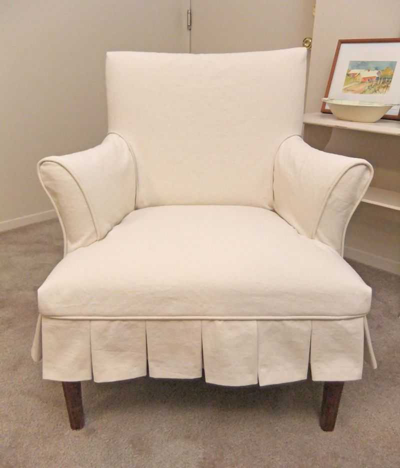 Cottage Style Pleated Slipcover In Natural Denim.