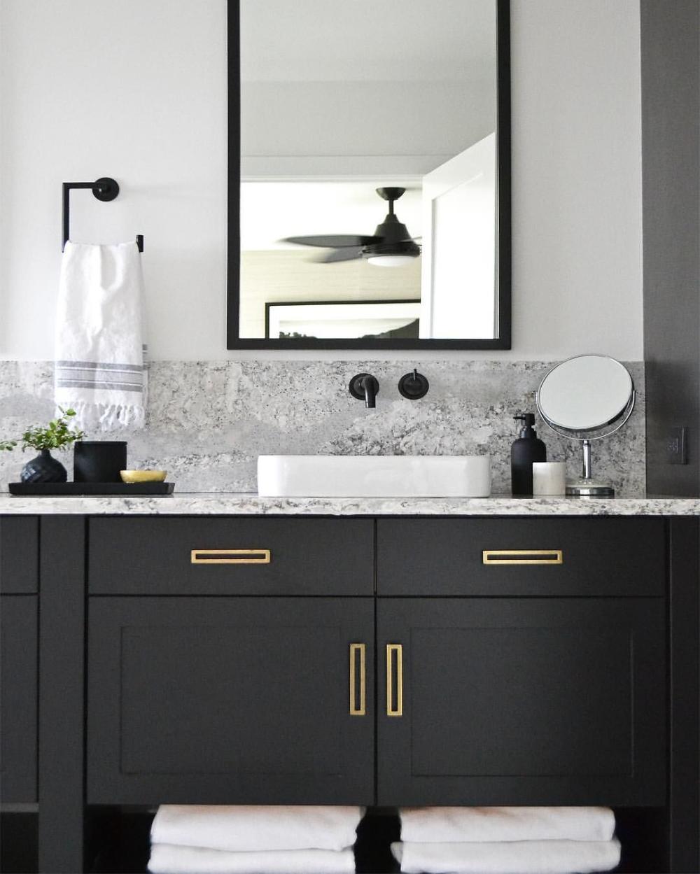 Black Cabinets Brass Hardware Black Tray And Accessories Black Vanity Bathroom B Bathroom Vanity Designs Beautiful Bathroom Vanity Black Cabinets Bathroom