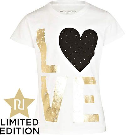 Girls white studded love t-shirt - t-shirts / vests / tops - girls