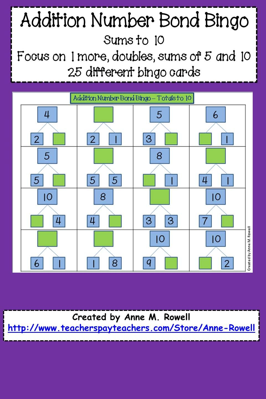 Addition Number Bond Bingo Number Bond Math In Focus Second Grade Math [ 1440 x 960 Pixel ]