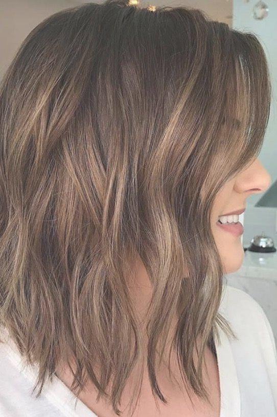 Brunette Balayage Wavy Hair Brown Highlights Long Bob