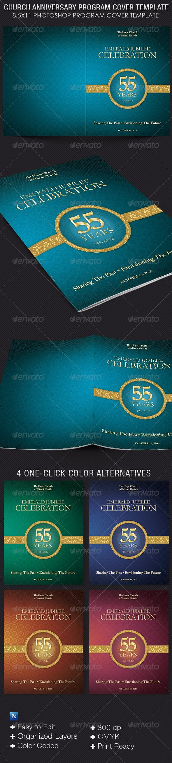 Church Anniversary Program Cover Template Pastor