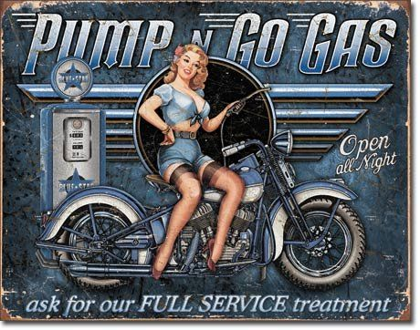 Pump n Go Gas Distressed Retro Vintage Tin Sign Poster Revolution
