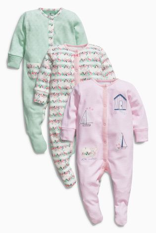 Buy Pink Floral Sleepsuits Three Pack 0mths 2yrs Online Today At