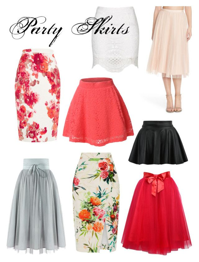 Party Skirts by ilovepartystyle on Polyvore featuring Relaxfeel, Adrianna Papell, Oasis, Damsel in a Dress and LE3NO