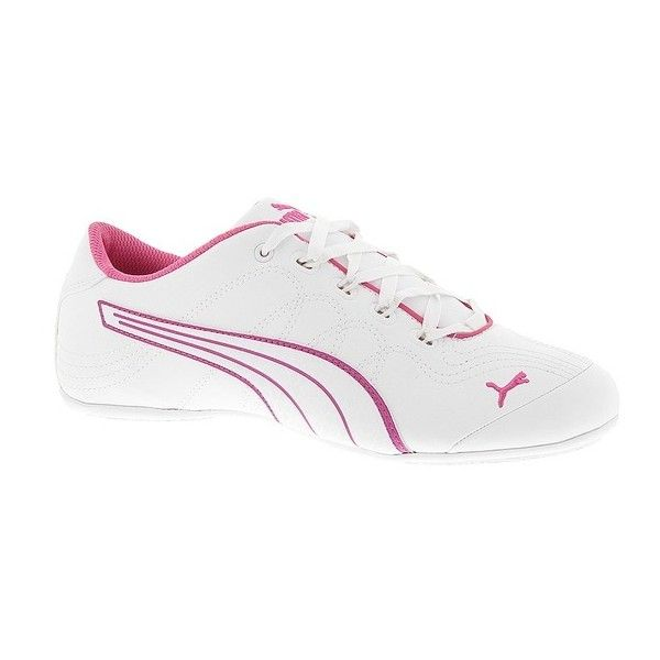 PUMA Soleil v2 Comfort Fun (1,015 MXN) ❤ liked on Polyvore featuring shoes, white, laced up shoes, puma shoes, cat print shoes, puma footwear et cat footwear