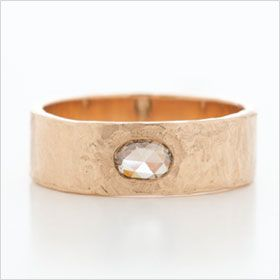 Hewn Hammered Plain Band in 6mm Width with Chocolate Diamond. Comes in white gold, too.