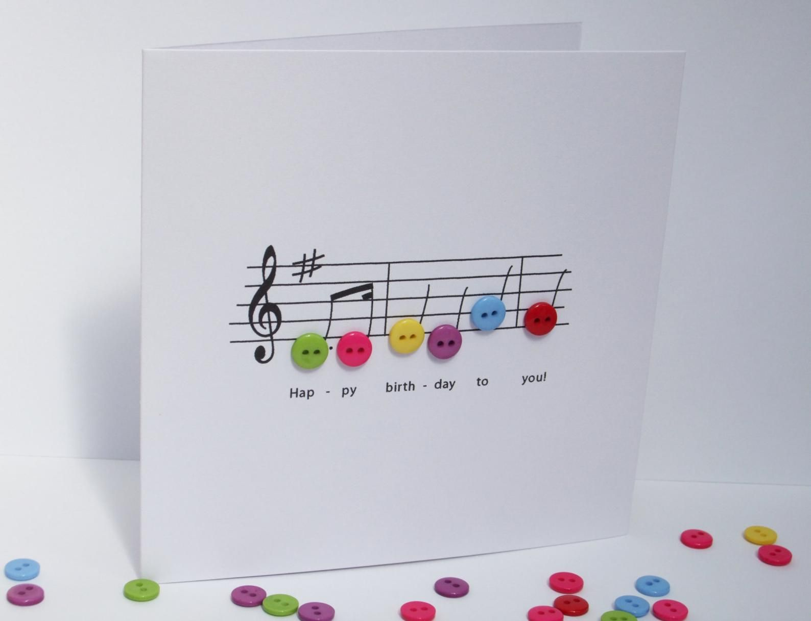 Happy Birthday Music Card Birthday Card With Button Notes Paper Handmade Greeting Card Etsy Uk In 2021 Happy Birthday Music Happy Birthday Music Notes Birthday Cards
