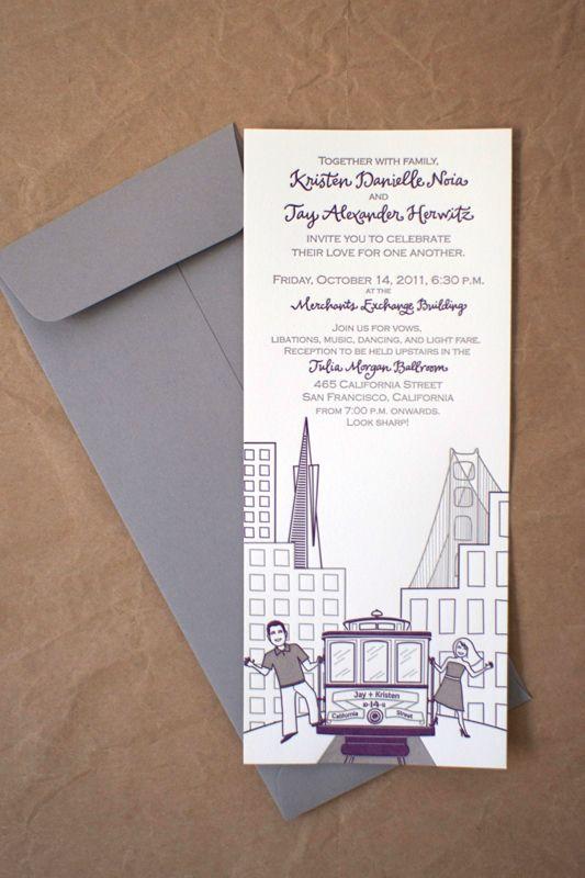 Kristen Jay S Modern Ilrated San Francisco Wedding Invitations Design Photo Sara From Stinkerpants Lettering Letter
