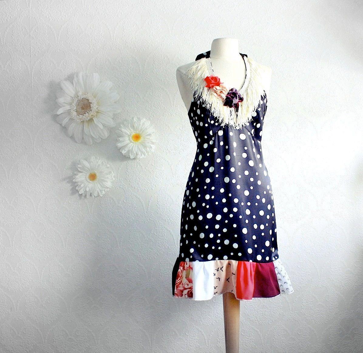 bonne idée pour rallonger une robe !! - Women's Black and White Polka Dot Halter Dress Upcycled Clothing Bohemian Patchwork Boho Fringe Hippie Clothes