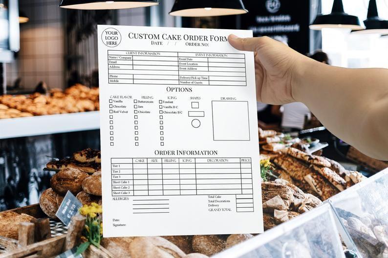 Custom Cake Order Form Bakery Forms Cake Order Form Baking