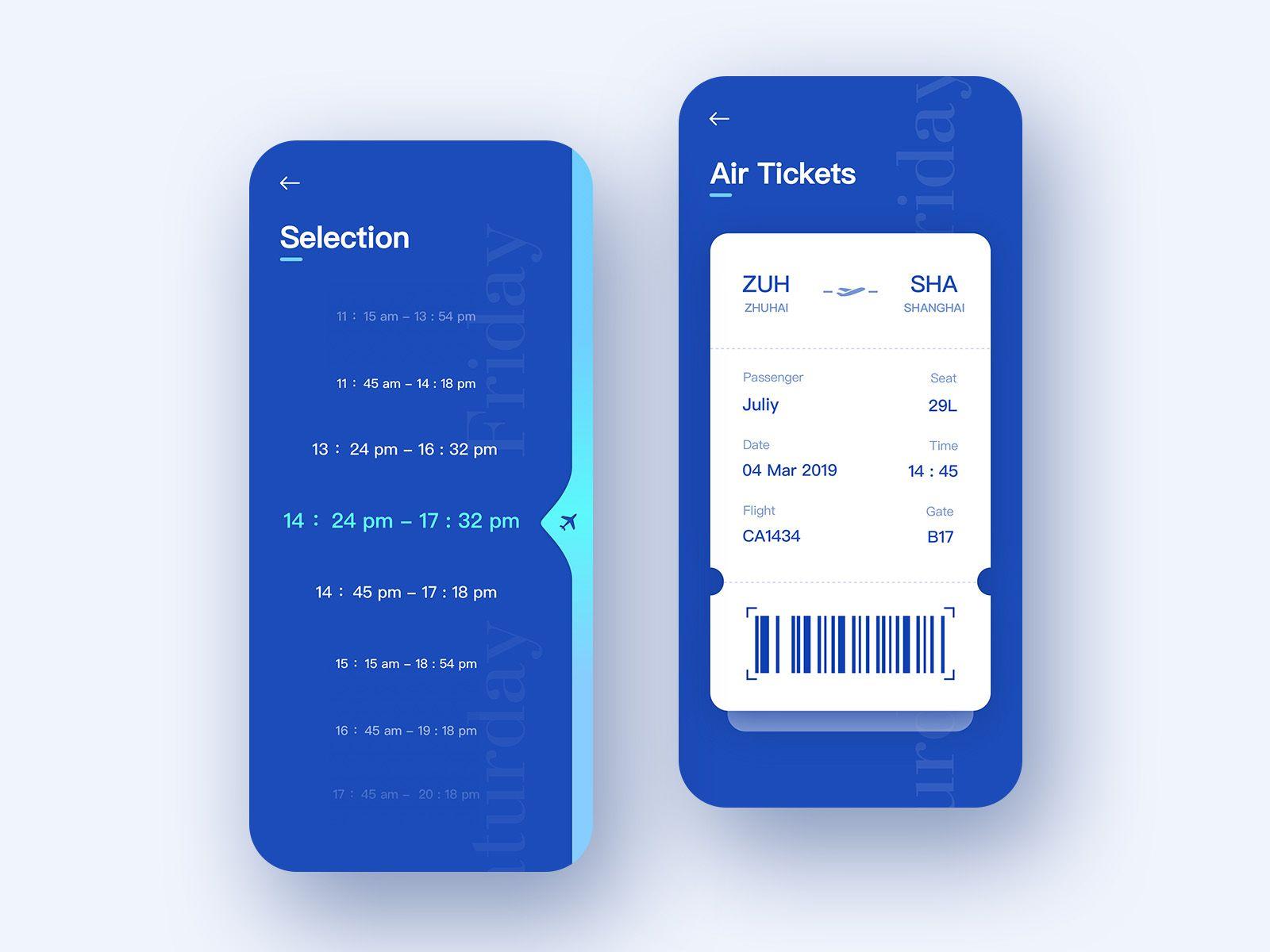 Air tickets interface ticket design air tickets app design