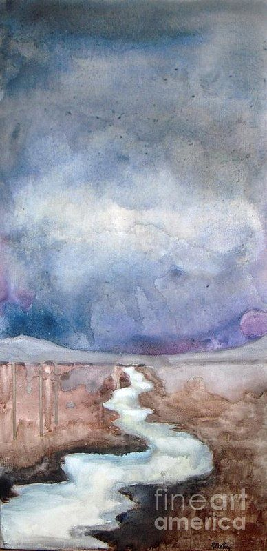Landscape Print featuring the painting Cascade Stream by Vesna Antic