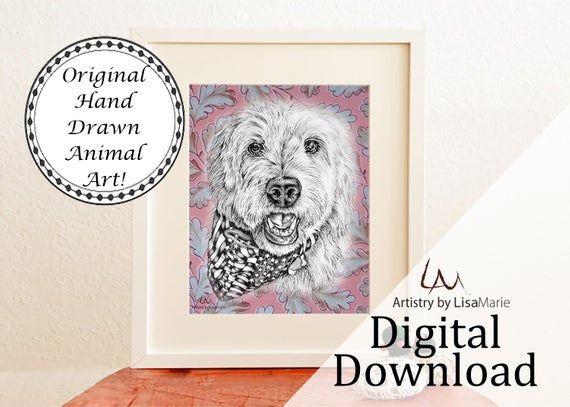 Golden Doodle Digital Download Dog Nursery Decor Wall Art Print