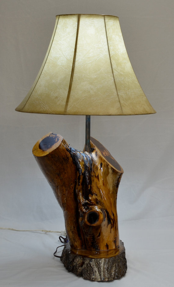 Hand Made Rustic Cedar Log Lamp By Jaynascountrystore On
