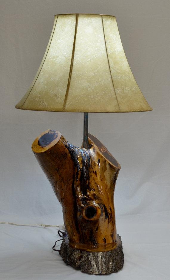 Hand Made Rustic Cedar Log Lamp by JaynasCountryStore on Etsy, $195.00