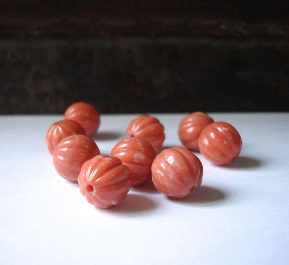 vintage salmon pink melon beads by allthatglittersbeads on Etsy, $2.50