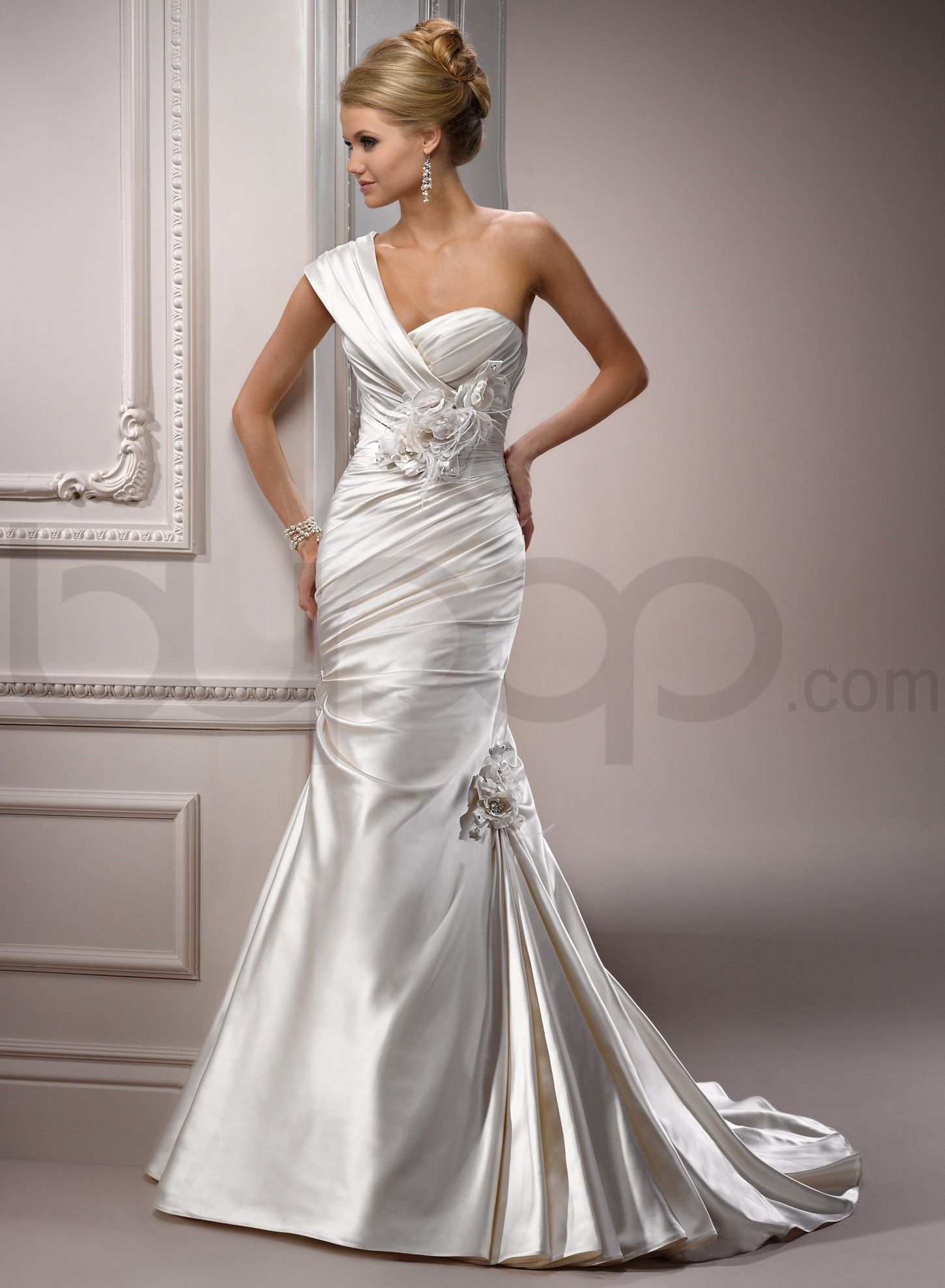 one strap wedding dress AND sweetheart neckline AND ballgown ...