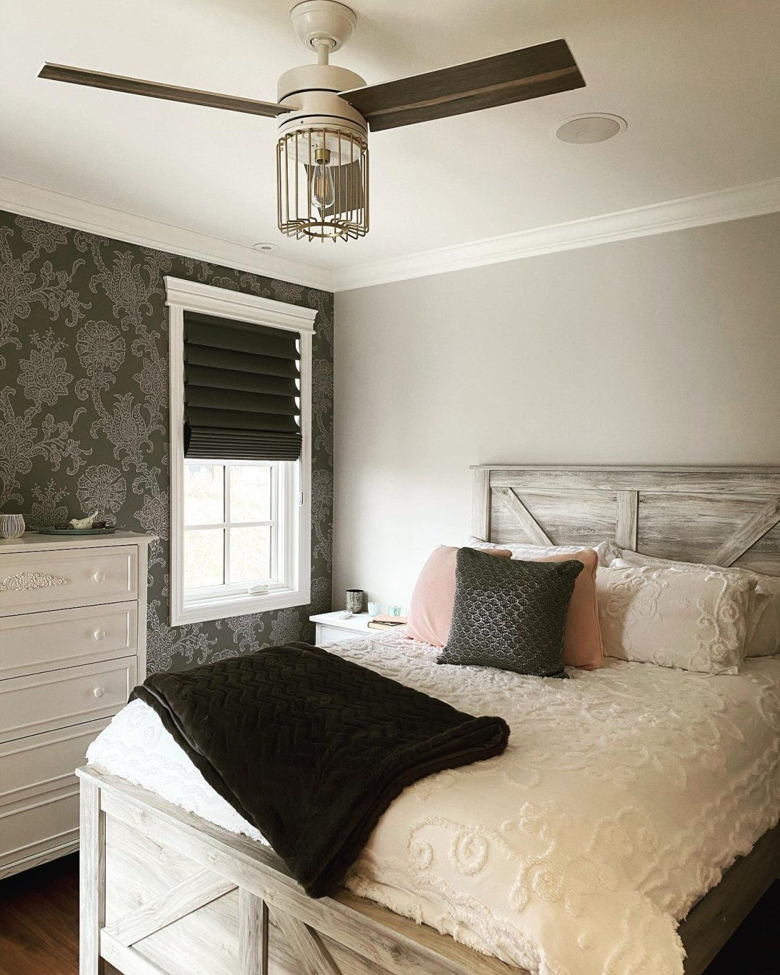 Never Underestimate The Place Of A Fan In A Modern Bedroom This Great Look Featuring The Rona Living Room Design Modern Modern Bedroom Modern Bedroom Lighting