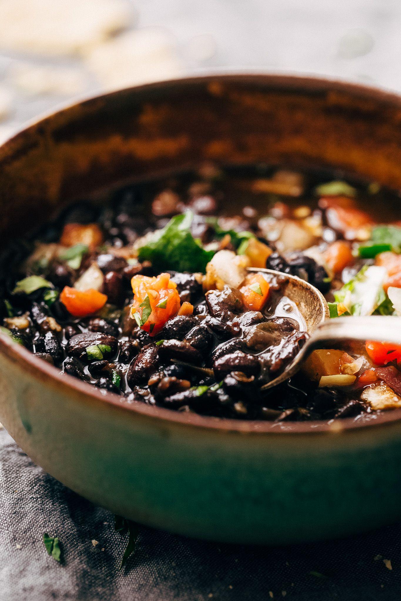 Instant pot easy detoxing black bean soup recipe with