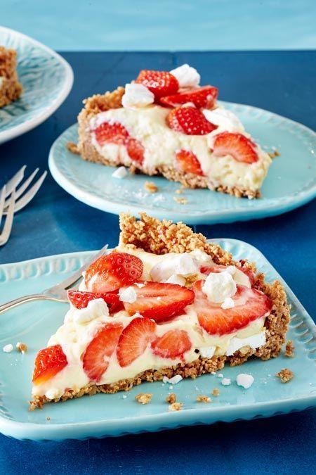 Erdbeer-Pudding-Kuchen ohne Backen  – Sommerrezepte