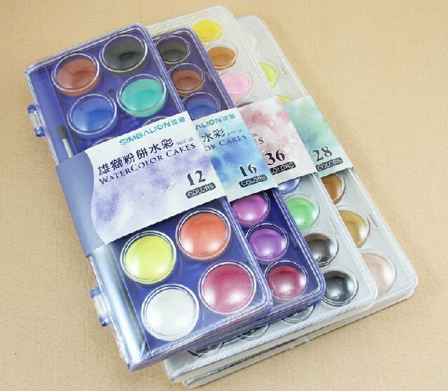 Simbalion Watercolor Cakes Watercolor Cake Pen Sets Water